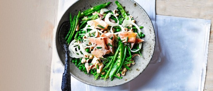 smoked trout, snow pea and fennel salad