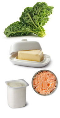 kale, margarin, canned salmon and yogurt - all full of calcium