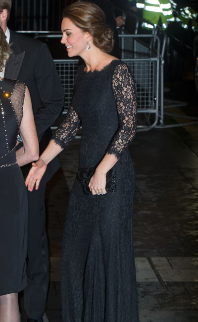 Pregnant Kate Middleton in black lace dress