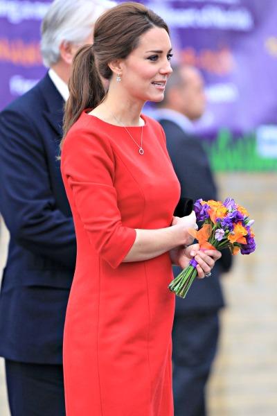 Pregnant Kate Middleton red dress