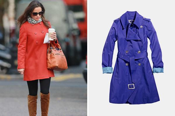 Pippa Middleton wearing raincoat