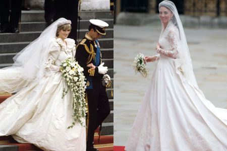 Princess Diana wedding dress versus Kate Middleton wedding dress