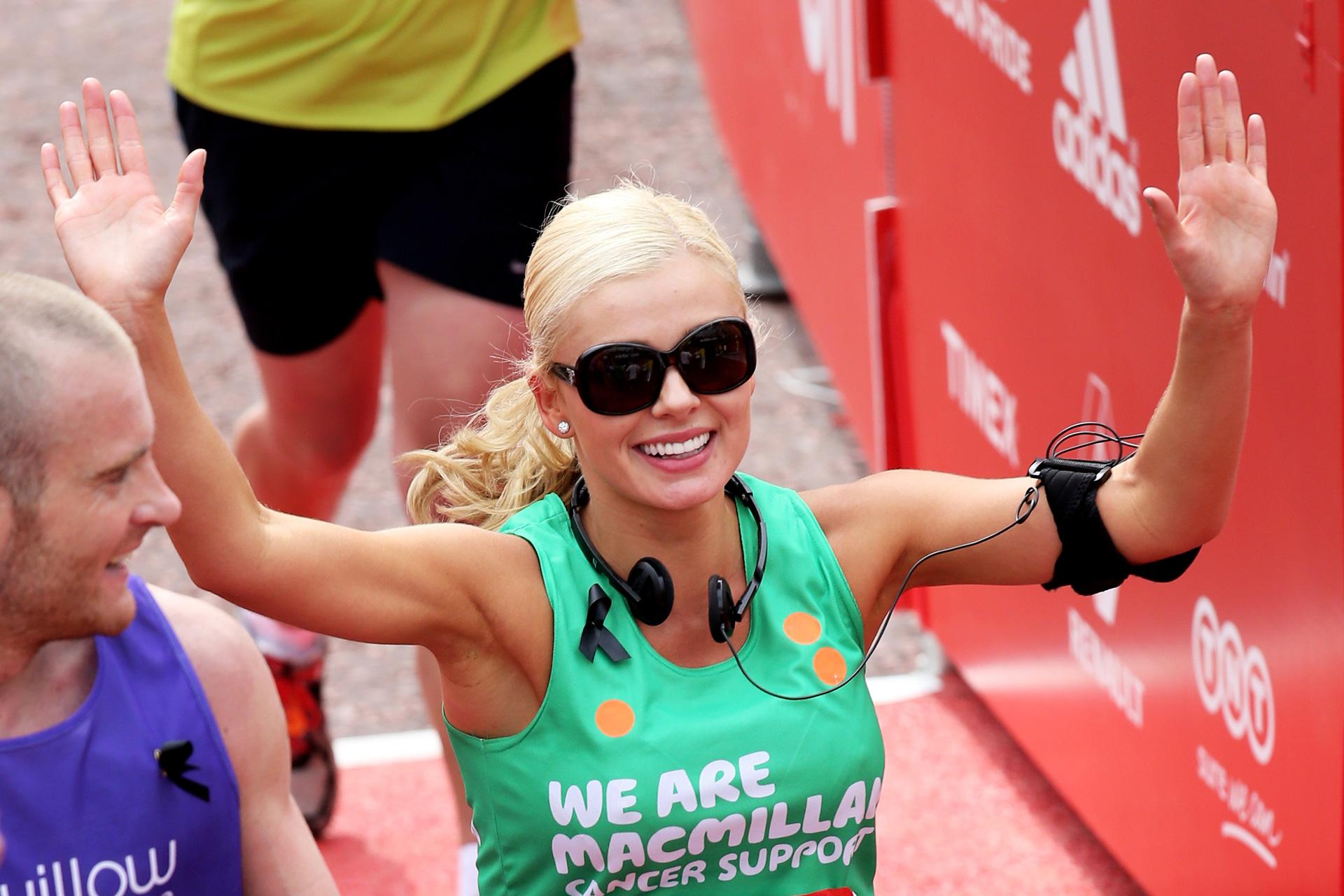 Katherine Jenkins crosses the finish line during the Virgin London Marathon 2013 on April 21, 2013