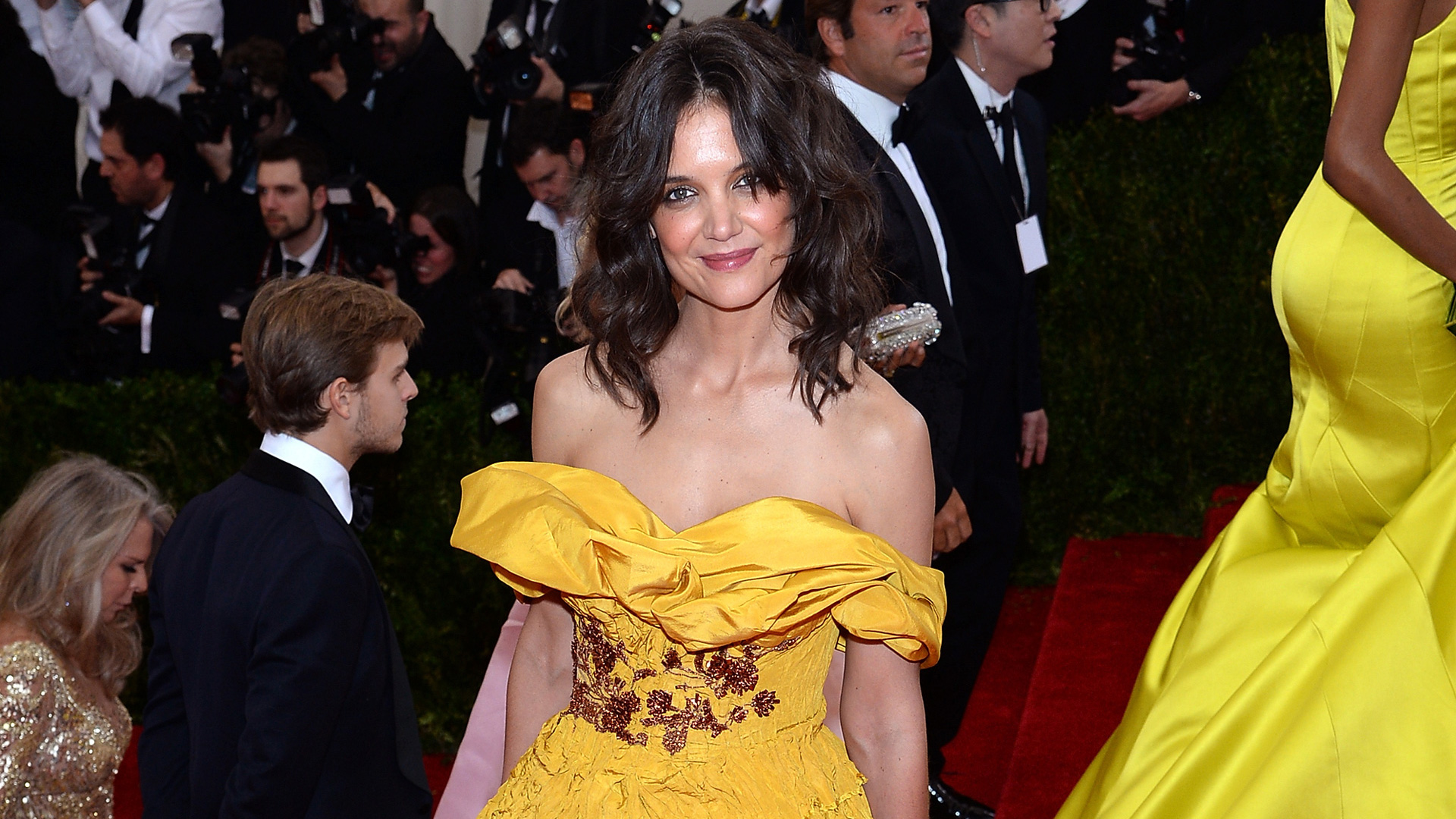 Katie Holmes as Belle in Beauty and the Beast at the 2014 Met Gala