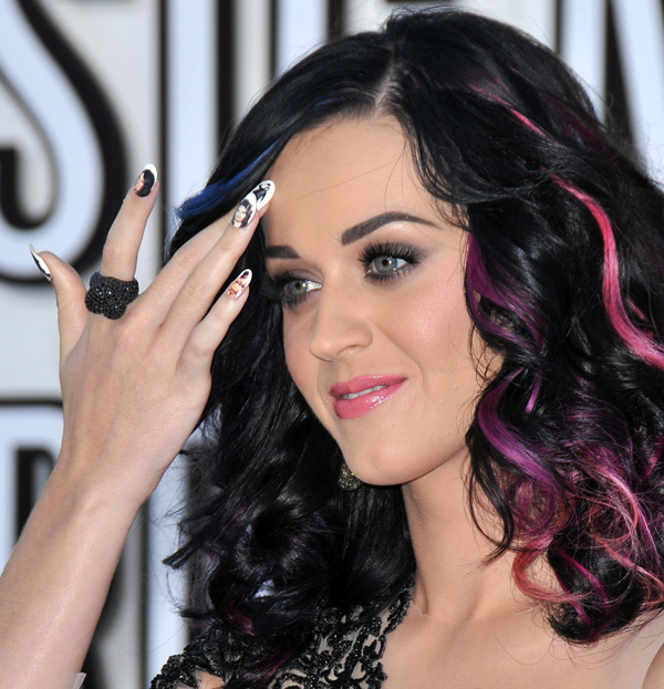 Katy Perry with colored hair extension