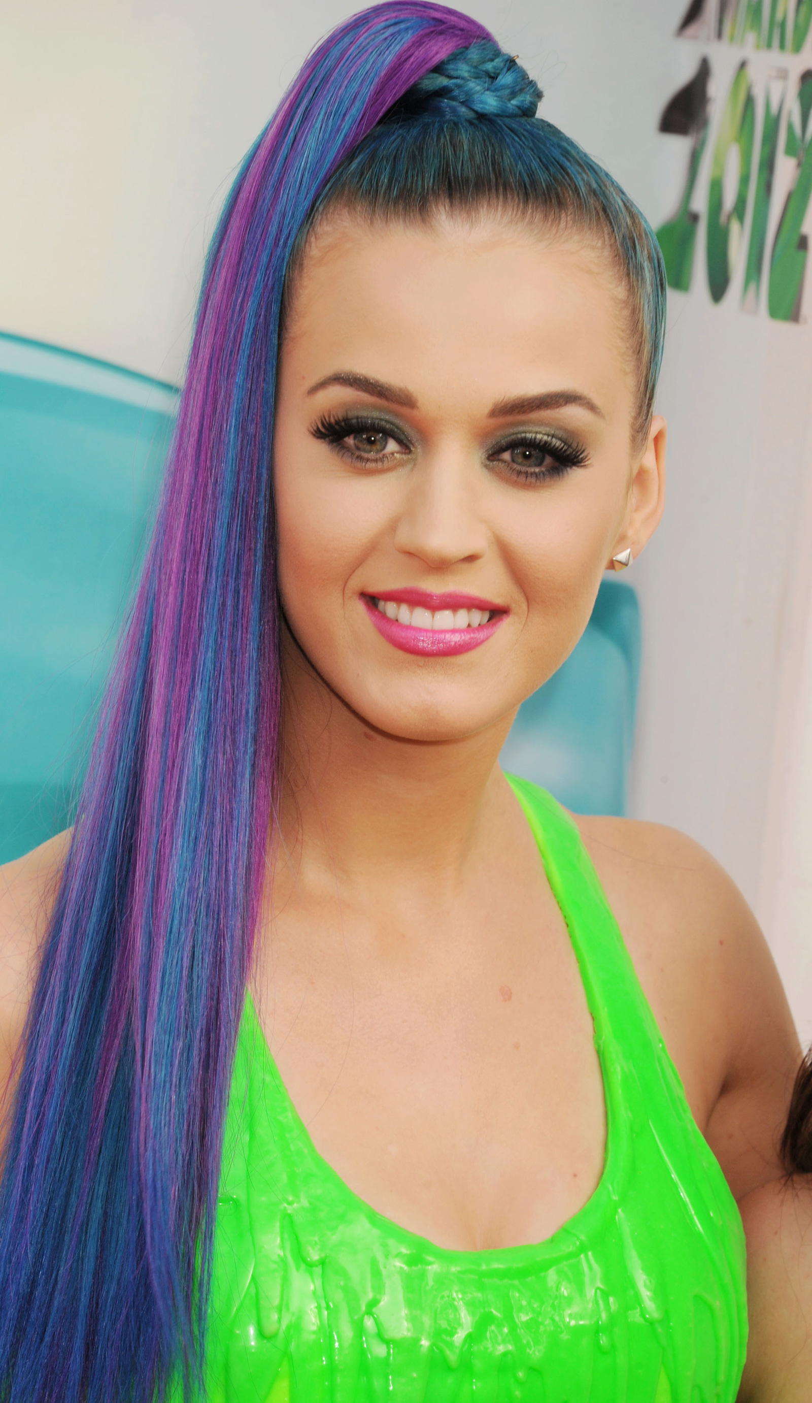 Katy Perry with blue and purple hair