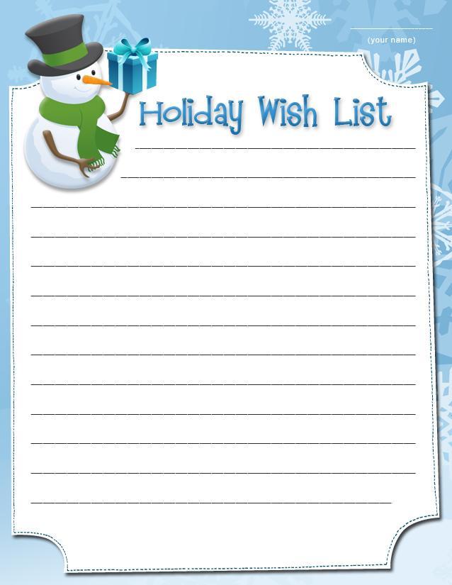 Printable Holiday wish lists