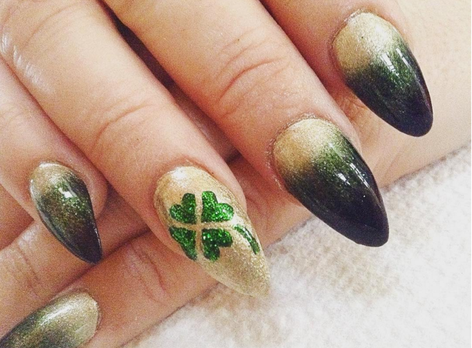 Pointy st patrick's day nails