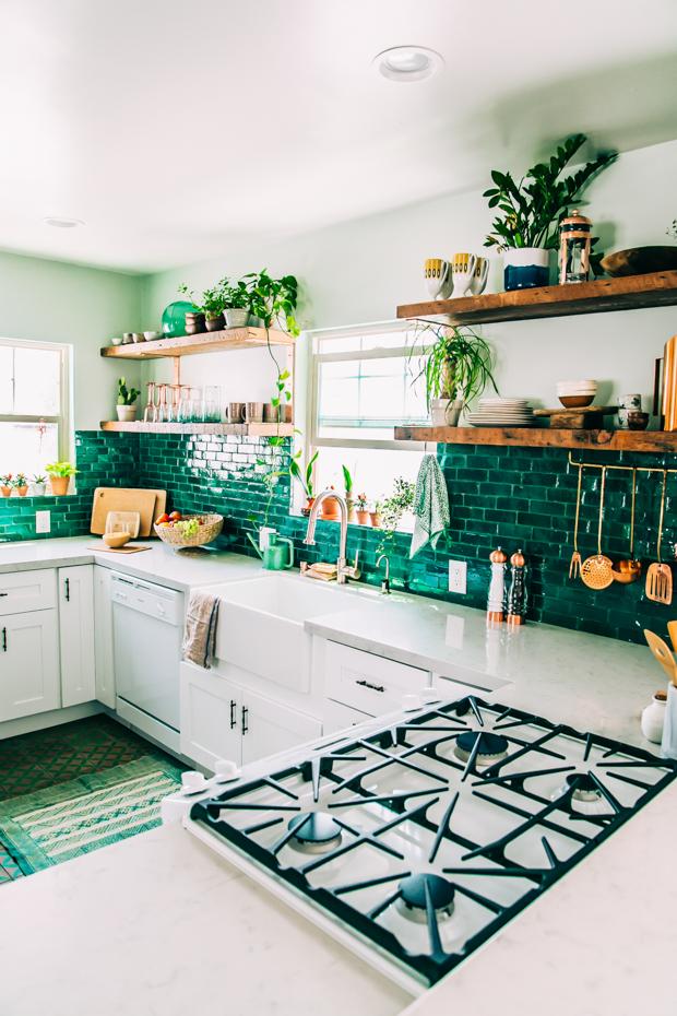 Green Backsplash Kitchen