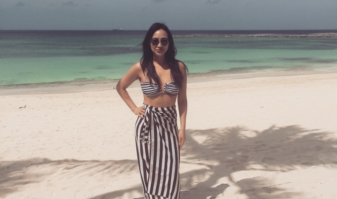 Dorothy Wang on the beaches of the Bahamas