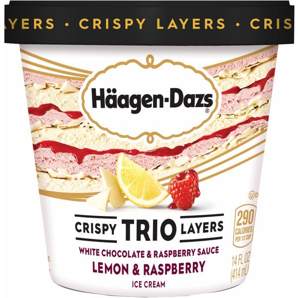 Haagen-Dazs Crispy Trio Layers White Chocolate & Raspberry Sauce, Lemon & Raspberry Ice Cream