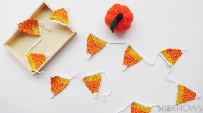 These crochet candy corn streamers are
