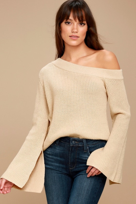 Cozy Sweaters For Under $100: Glad to See Ya Beige One-Shoulder Sweater | Fall Fashion 2017