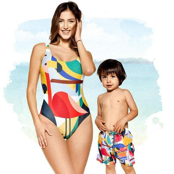 matching geometric swimsuits