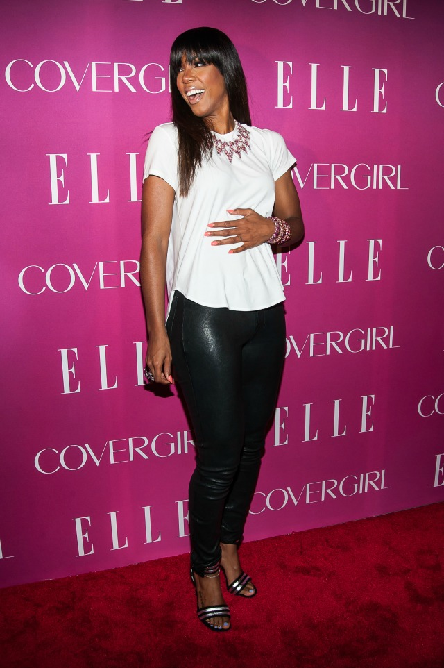 Kelly Rowland leather pants outfit