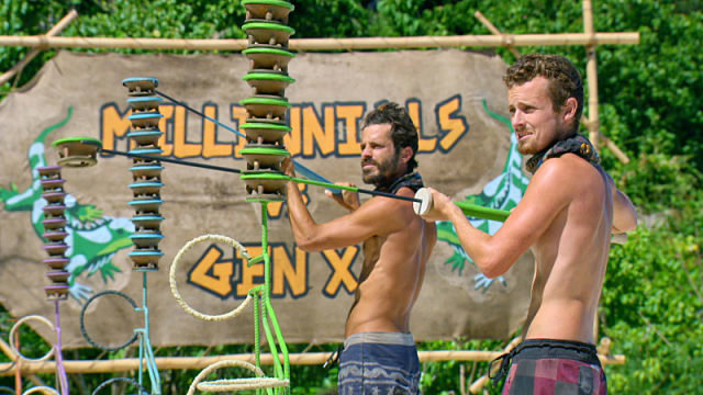 Ken McNickle competes against Adam Klein on Survivor: Millennials Vs. Gen-X