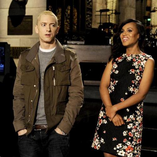 Pregnant Kerry Washington and Eminem on SNL
