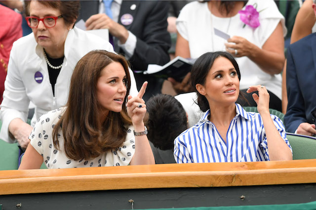 Catherine, Duchess of Cambridge, and Meghan, Duchess of Sussex, attend day 12 of the Wimbledon Tennis Championships