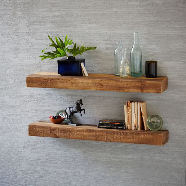 Ways to Create a Cozy Reading Nook   Reclaimed Pine Floating Shelf