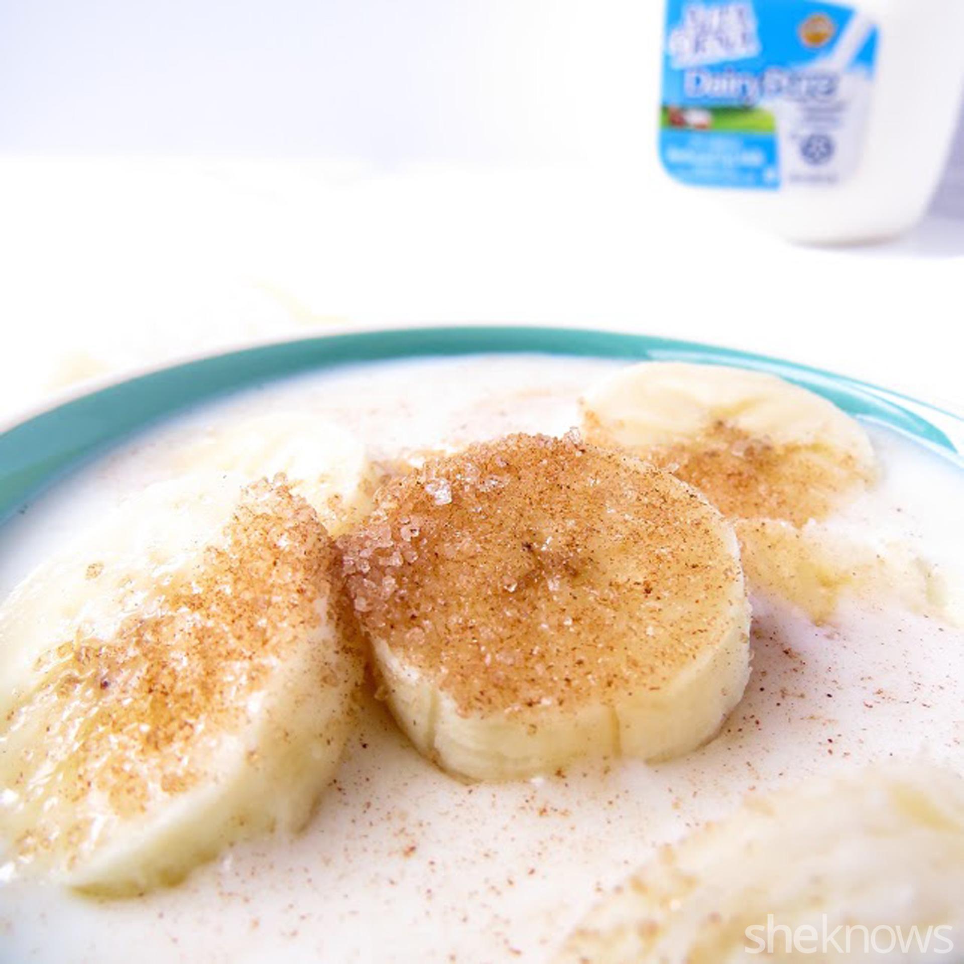 Cinnamon sugar bananas in milk