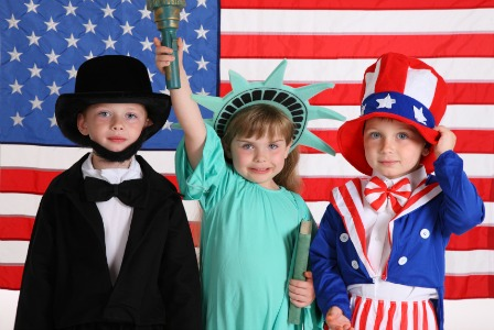 Kids in costume on 4th of July