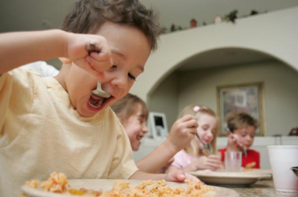 energetic boy eating