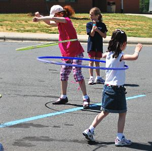 Hula hooping kids