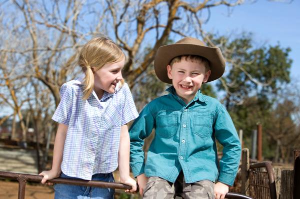 Kid on farm vacation