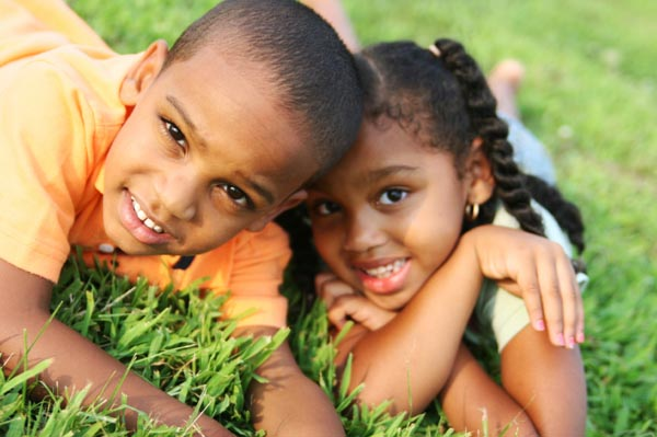 kids playing in backyard