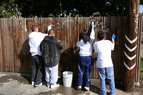 Kids Removing Graffiti