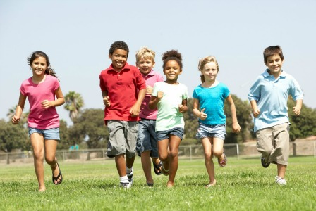 Kids running together