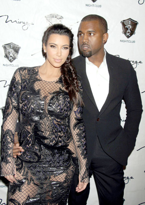 Kim and Kanye West in black