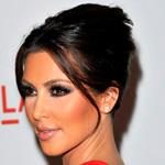 Kim Kardashian with dark hair updo