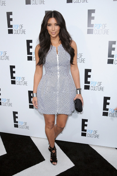 Kim Kardashian wearing white and black dress