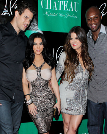 Kim & Khloe Kardashian with Kris and Lamar