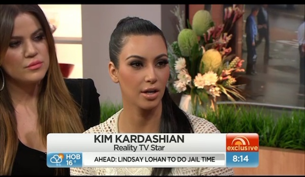 Kim Kardashian on Australian morning show Sunrise