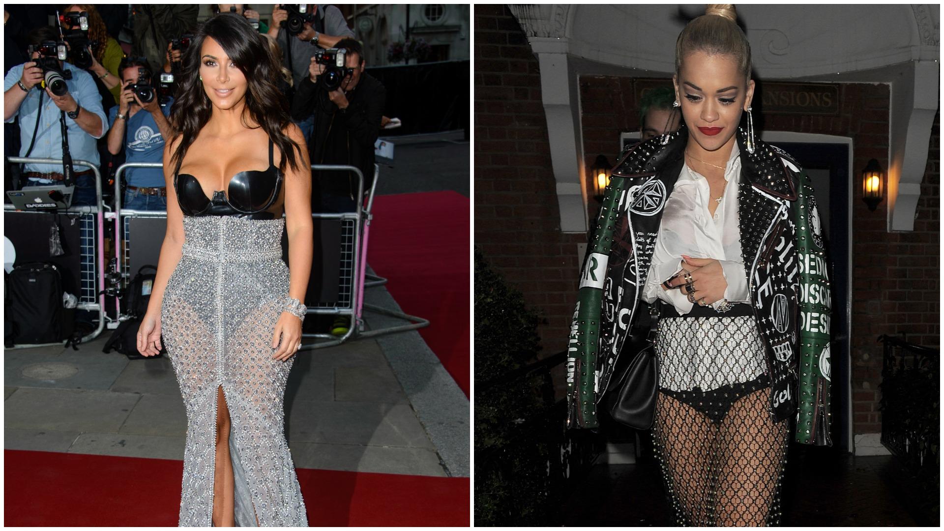 Kim Kardashian Rita Ora showing their underwear
