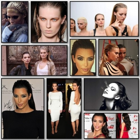 Kim Kardashian slicked back hair