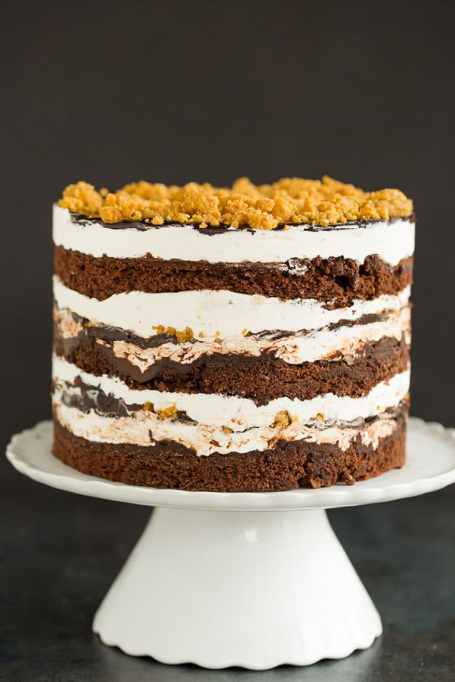 11 Toasted Marshmallow Recipes: Every layer of this s'mores cake is a different flavor of delicious