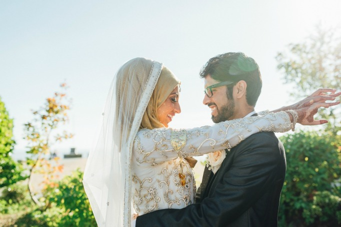 Muslim couple wedding photo