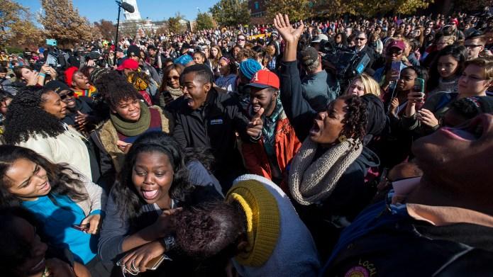 COLUMBIA, MO - NOVEMBER 9: Protesters