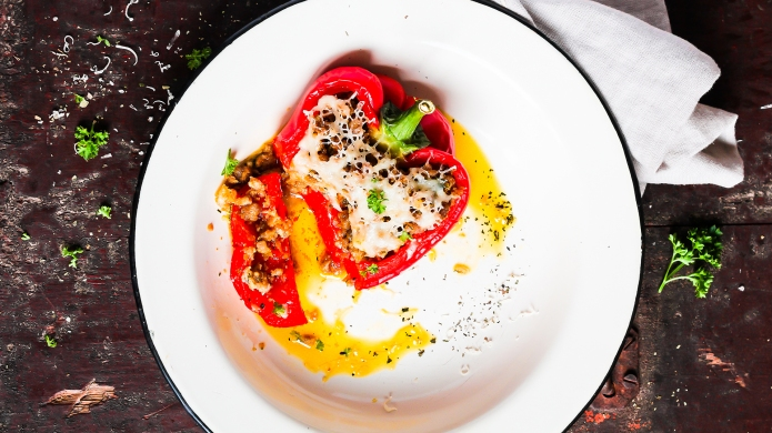 Red bell pepper stuffed with pork