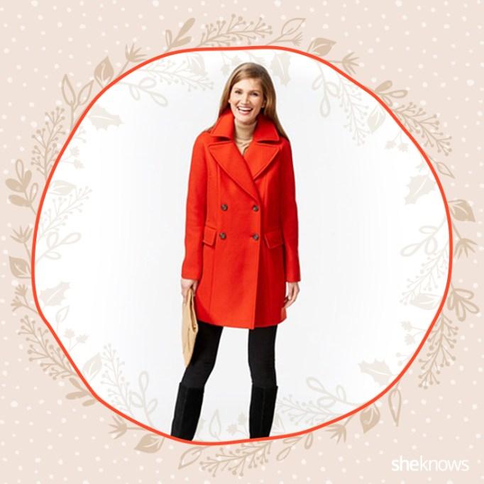orange double breasted coat