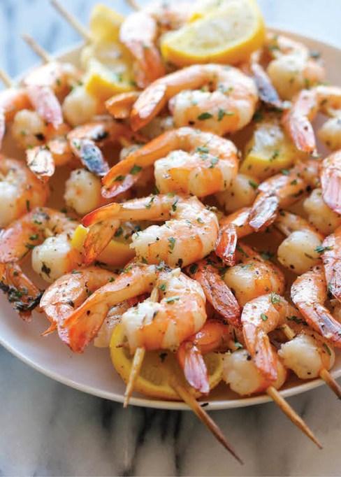 Lemon-garlic shrimp kabobs