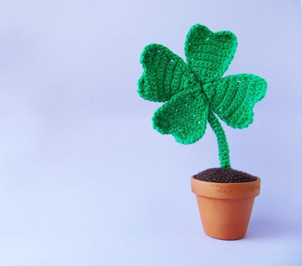 Crochet this lucky clover in a