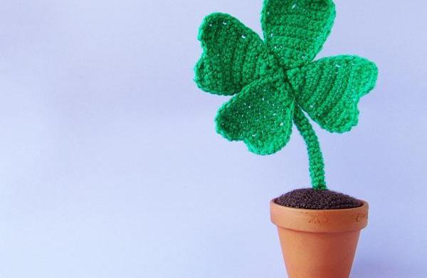Crochet this lucky clover in a