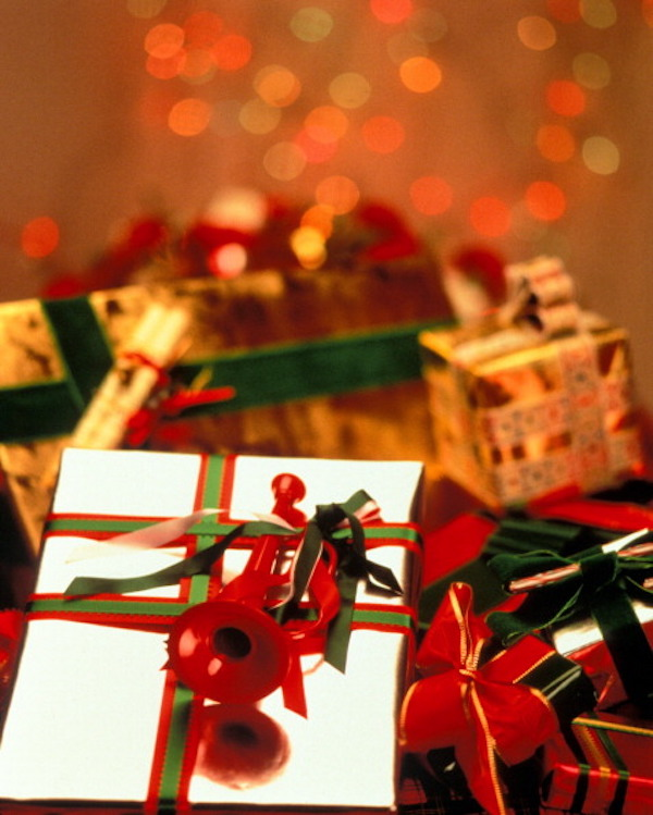 Christmas Gifts Wrapped With Ribbons. (Photo