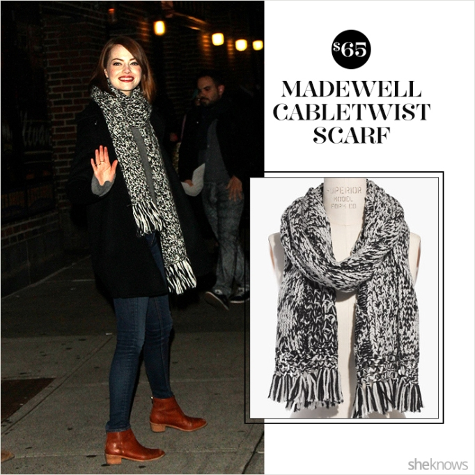 Emma Stone wearing Madewell cabletwist scarf