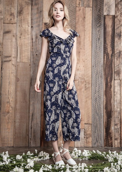 Dressy Jumpsuits: J.O.A. Printed Jumpsuit with Ruffle Strap | Summer Fashion 2017