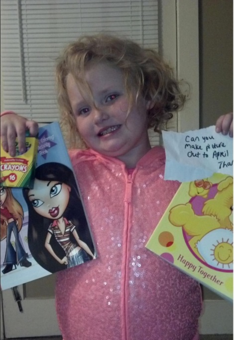 Honey Boo Boo showing off gifts from fans in November 2012